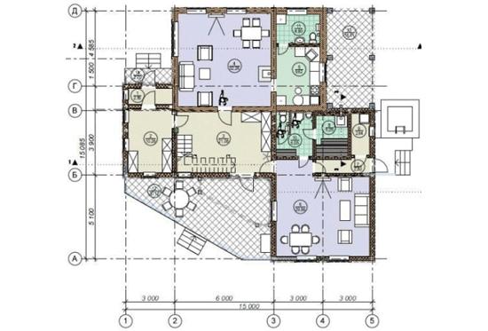 План N1 проекта дома из клееного бруса АСД-1691