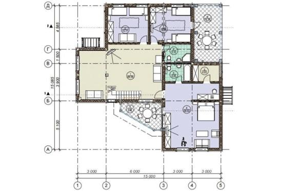 План N2 проекта дома из клееного бруса АСД-1691