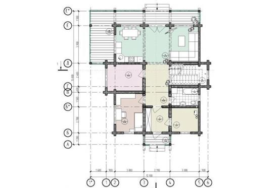 План N1 проекта дома из клееного бруса АСД-1692