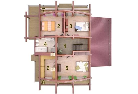 Проект дома из клееного бруса Берген 265
