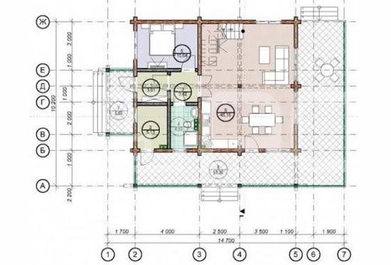 Проект дома из клееного бруса Грин 210