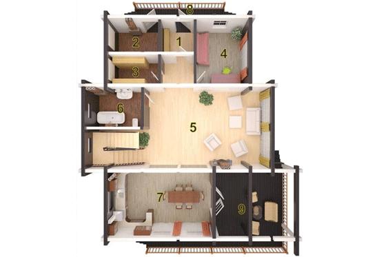 План N1 проекта дома из клееного бруса АСД-1697