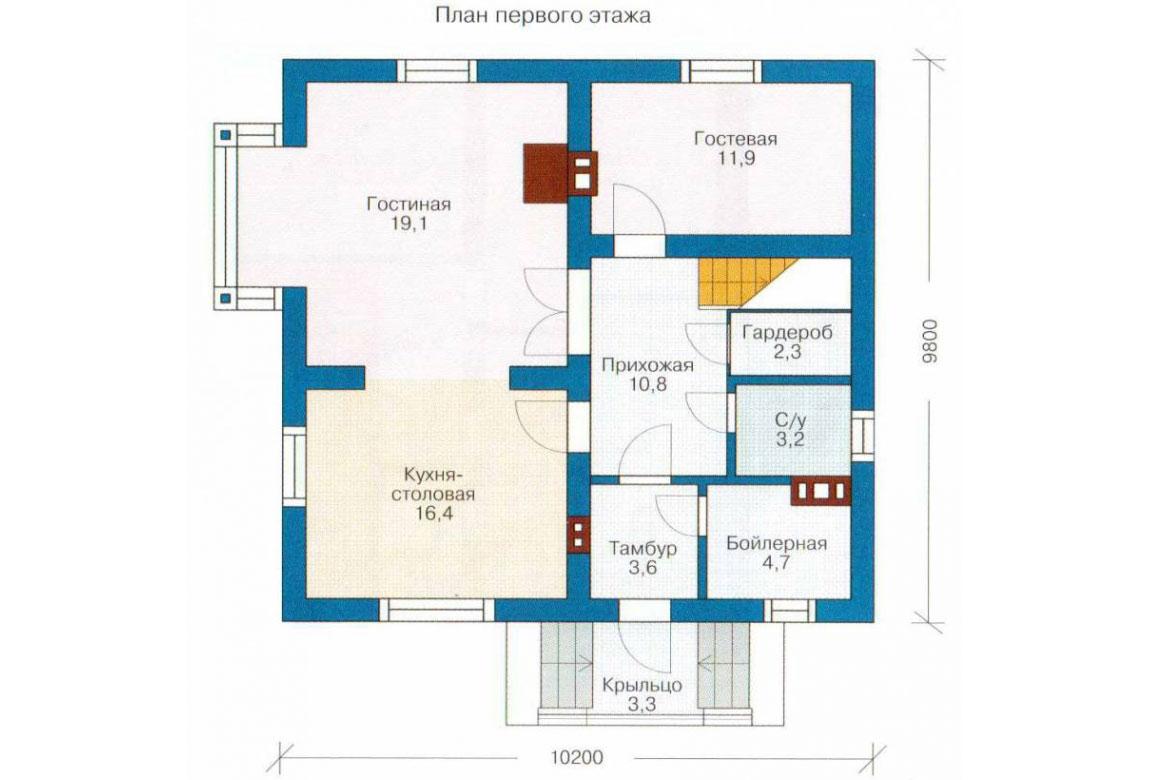 План N1 проекта кирпичного дома АСД-1007