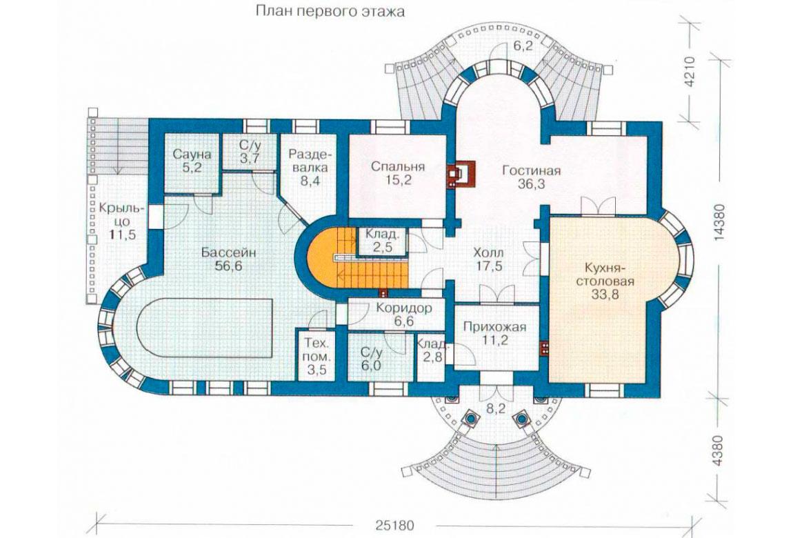 План N2 проекта кирпичного дома АСД-1070