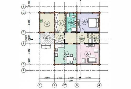 План N1 проекта дома из клееного бруса АСД-1706