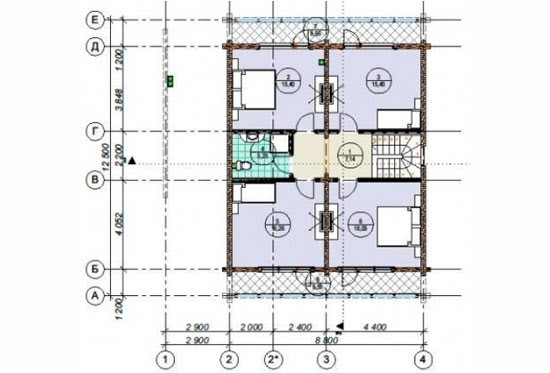 План N2 проекта дома из клееного бруса АСД-1706
