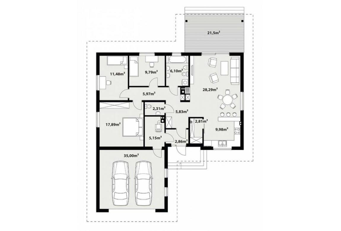План N1 проекта каркасного дома АСД-Лантана