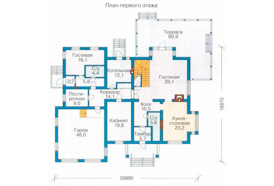 План N1 проекта кирпичного дома АСД-1071