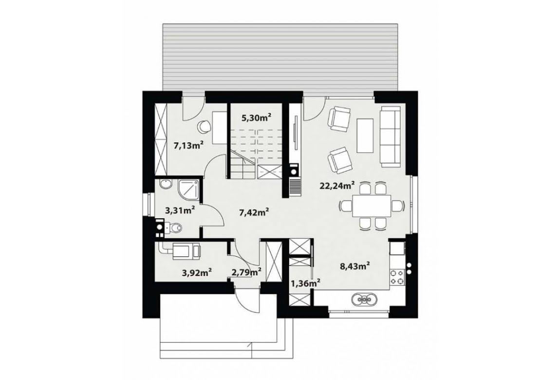 План N1 проекта каркасного дома АСД-1712