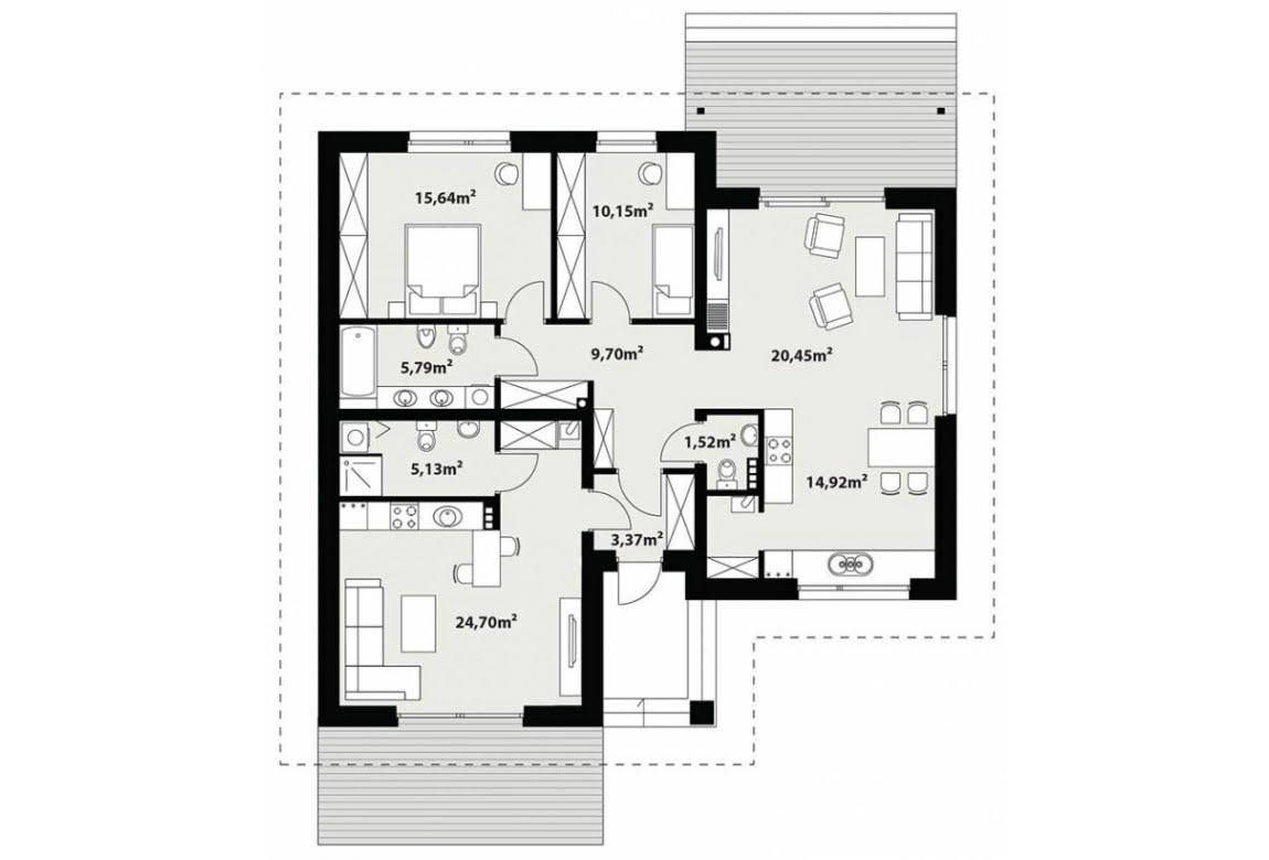 План N1 проекта каркасного дома АСД-Флоксы