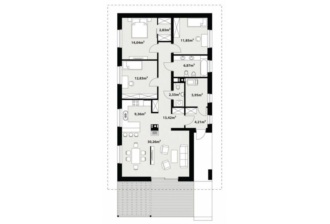 План N1 проекта каркасного дома АСД-Ива