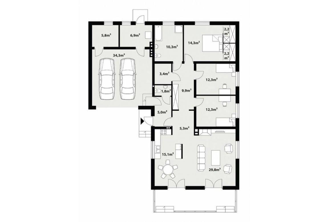 План N1 проекта каркасного дома АСД-Дипладения