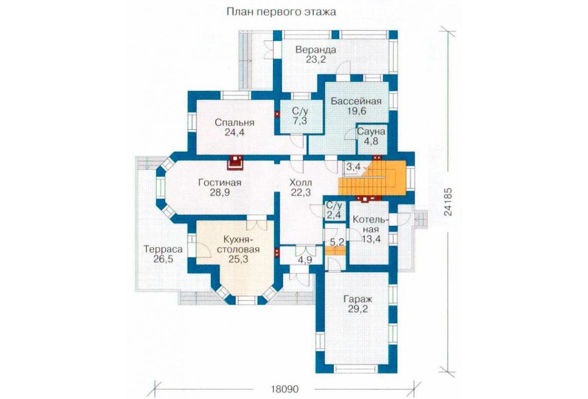 План N1 проекта кирпичного дома АСД-1072
