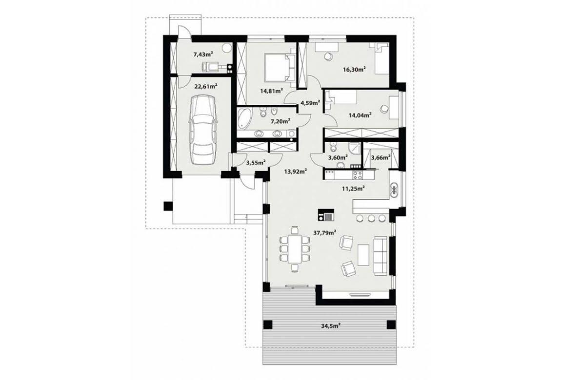 План N1 проекта каркасного дома АСД-Липпия