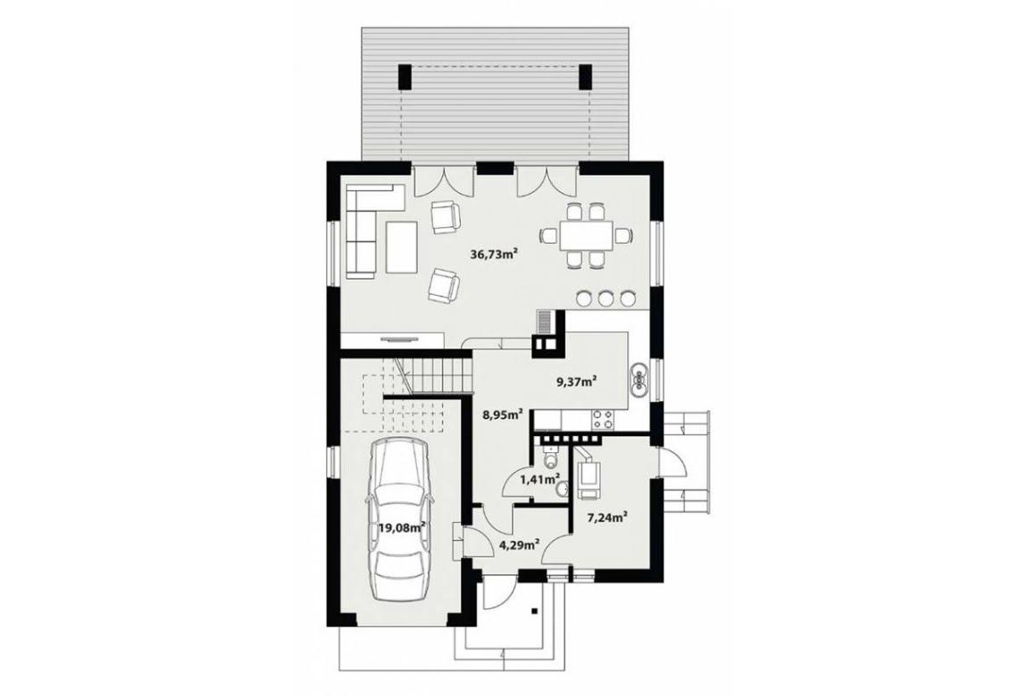 План N1 проекта каркасного дома АСД-Малина
