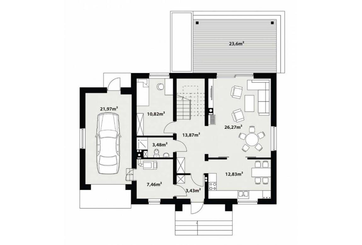 План N1 проекта каркасного дома АСД-Сенполия