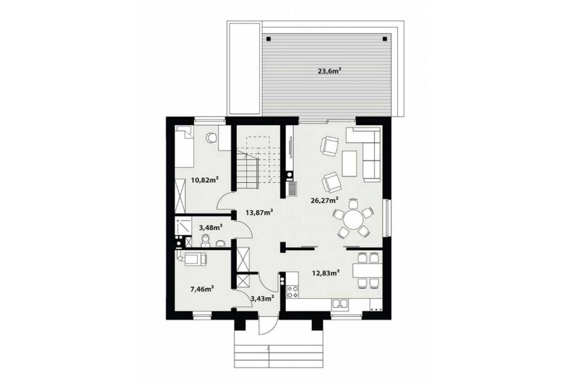 План N1 проекта каркасного дома АСД-1730