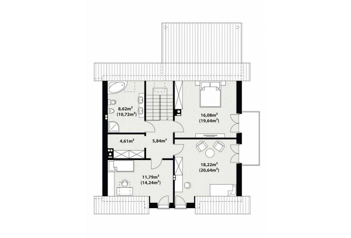 План N2 проекта каркасного дома АСД-1730
