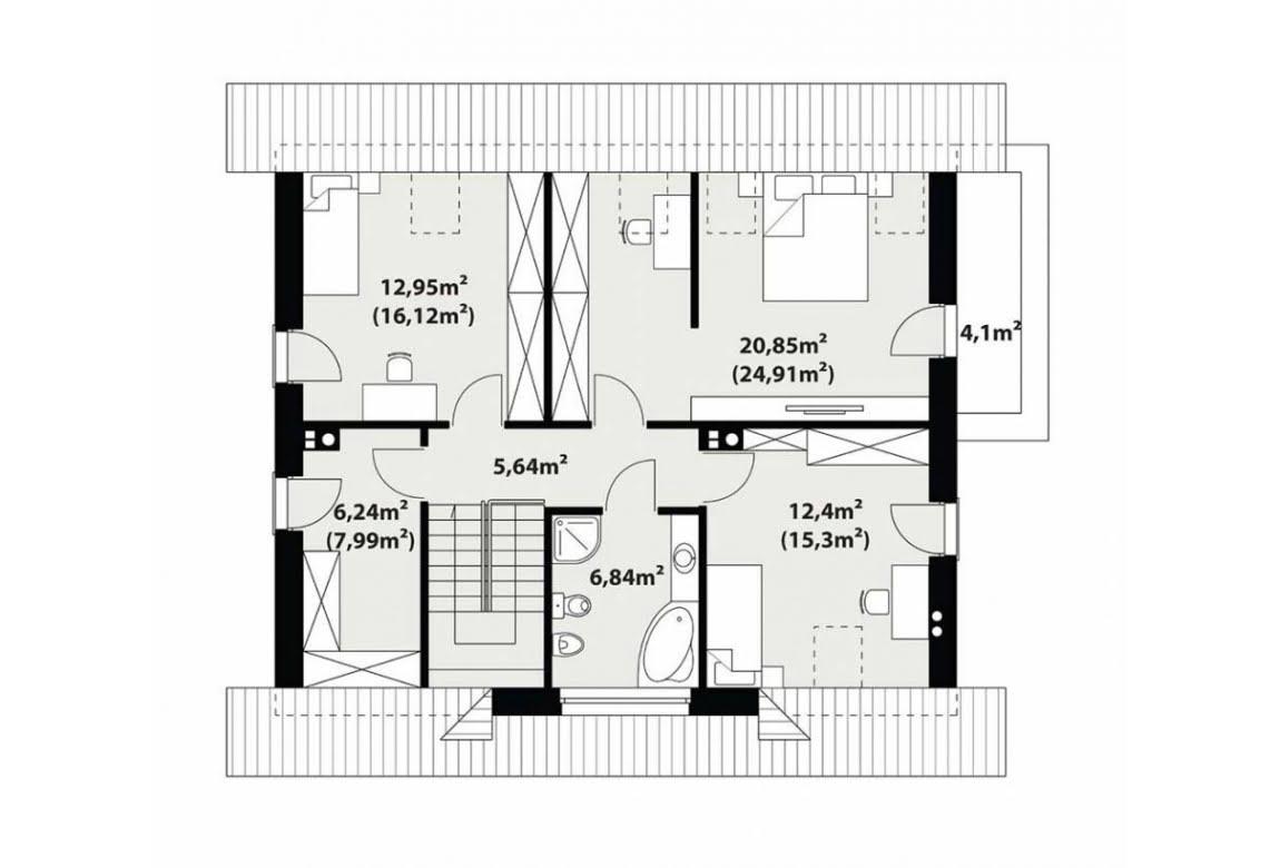 План N2 проекта каркасного дома АСД-Сильфия