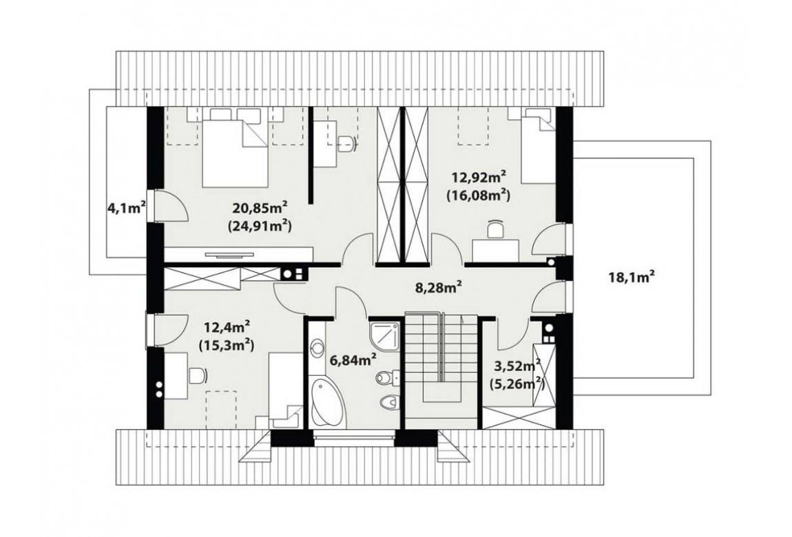План N3 проекта каркасного дома АСД-1732