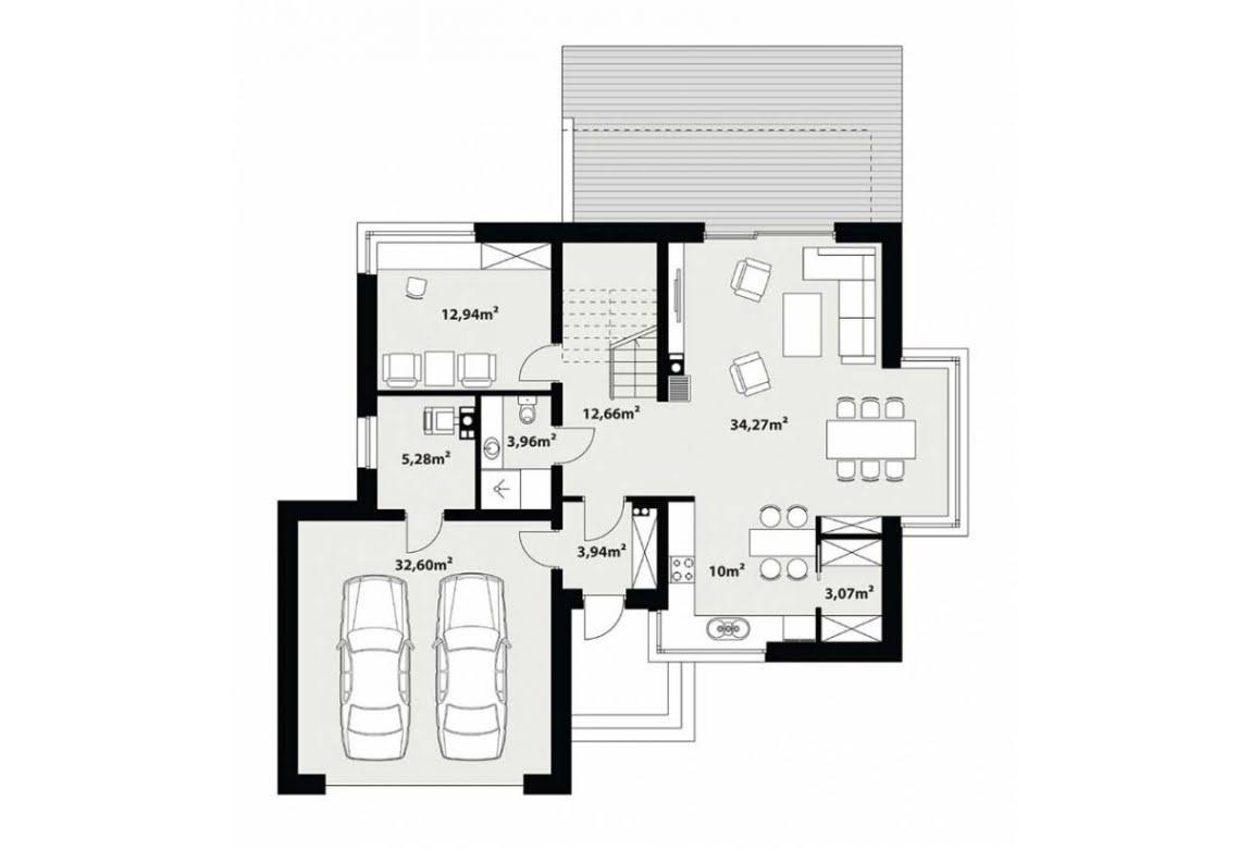 План N1 проекта каркасного дома АСД-Хризантема