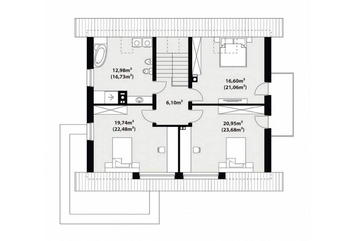 План N2 проекта каркасного дома АСД-Хризантема