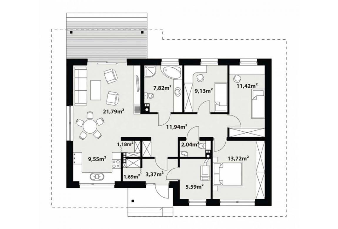 План N1 проекта каркасного дома АСД-Астильба 100