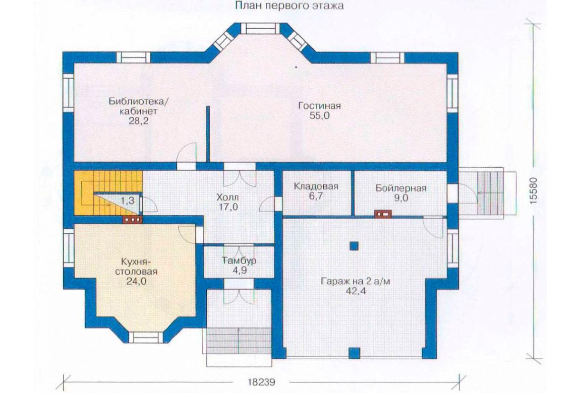 План N1 проекта кирпичного дома АСД-1074