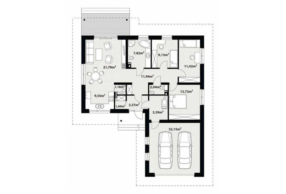 План N1 проекта каркасного дома АСД-1740