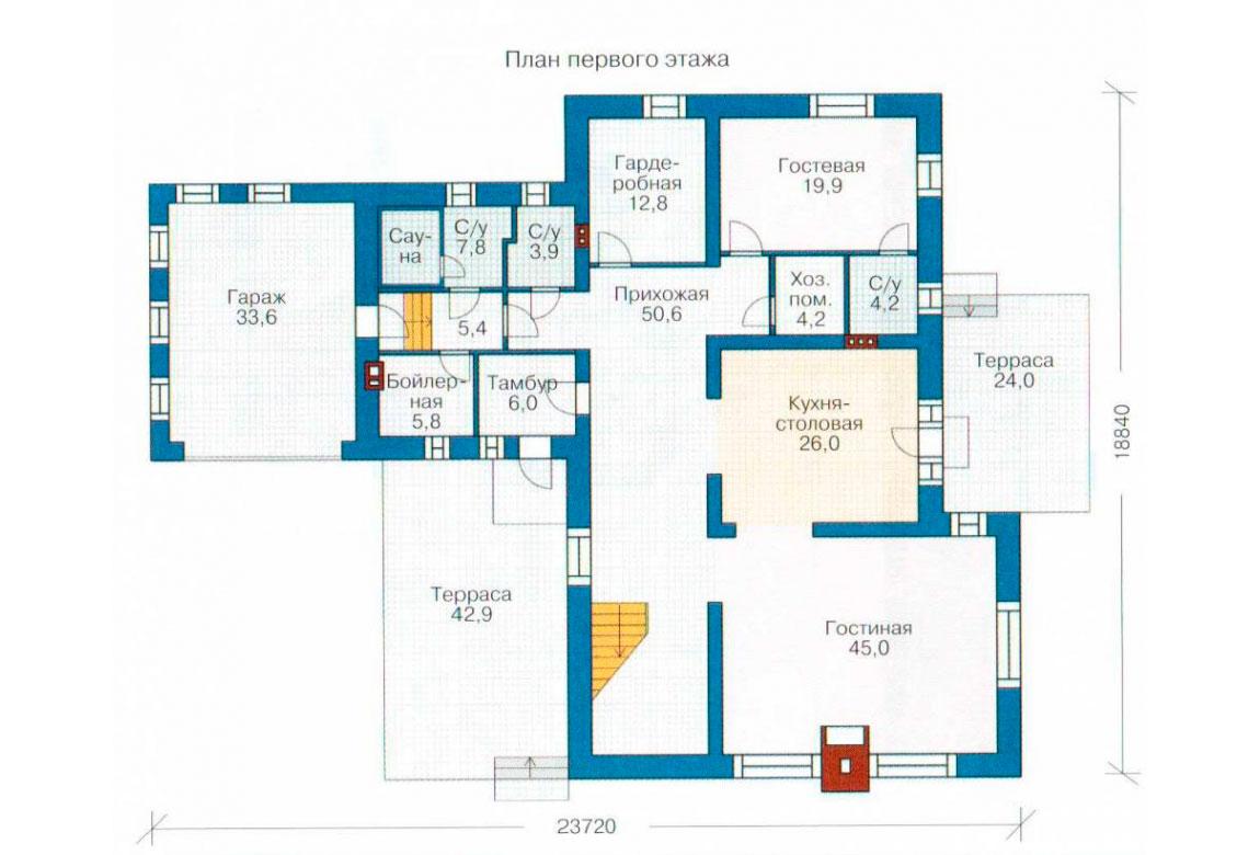 План N1 проекта кирпичного дома АСД-1075