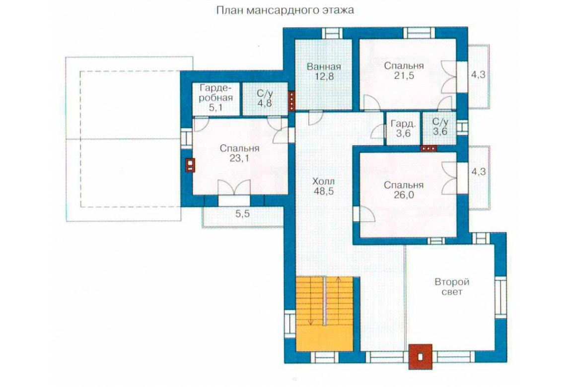 План N2 проекта кирпичного дома АСД-1075