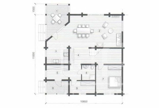 План N1 проекта дома из клееного бруса АСД-Астория