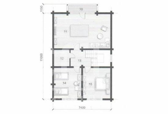 План N2 проекта дома из клееного бруса АСД-Астория