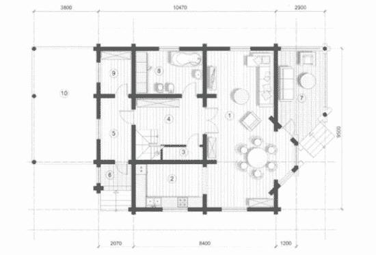 План N1 проекта дома из бревна АСД-Васницово