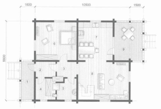 План N1 проекта дома из бревна АСД-Гермес