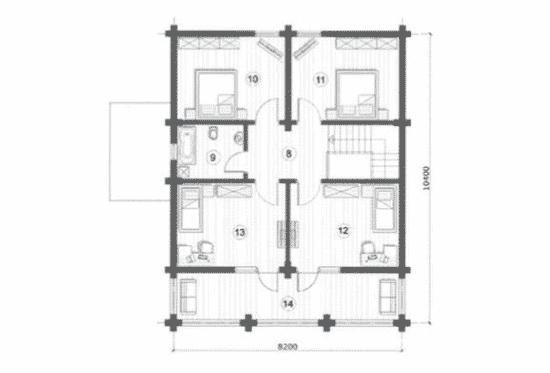 План N2 проекта дома из бревна АСД-Марьина Роща
