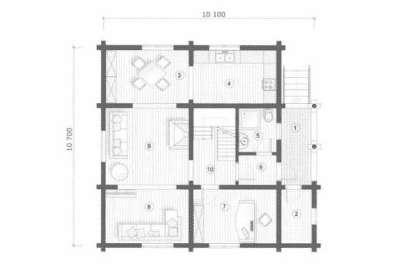 План N1 проекта дома из бревна АСД-Одинцово