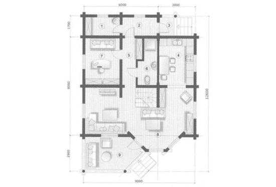 План N1 проекта дома из бревна АСД-Южная Ночь