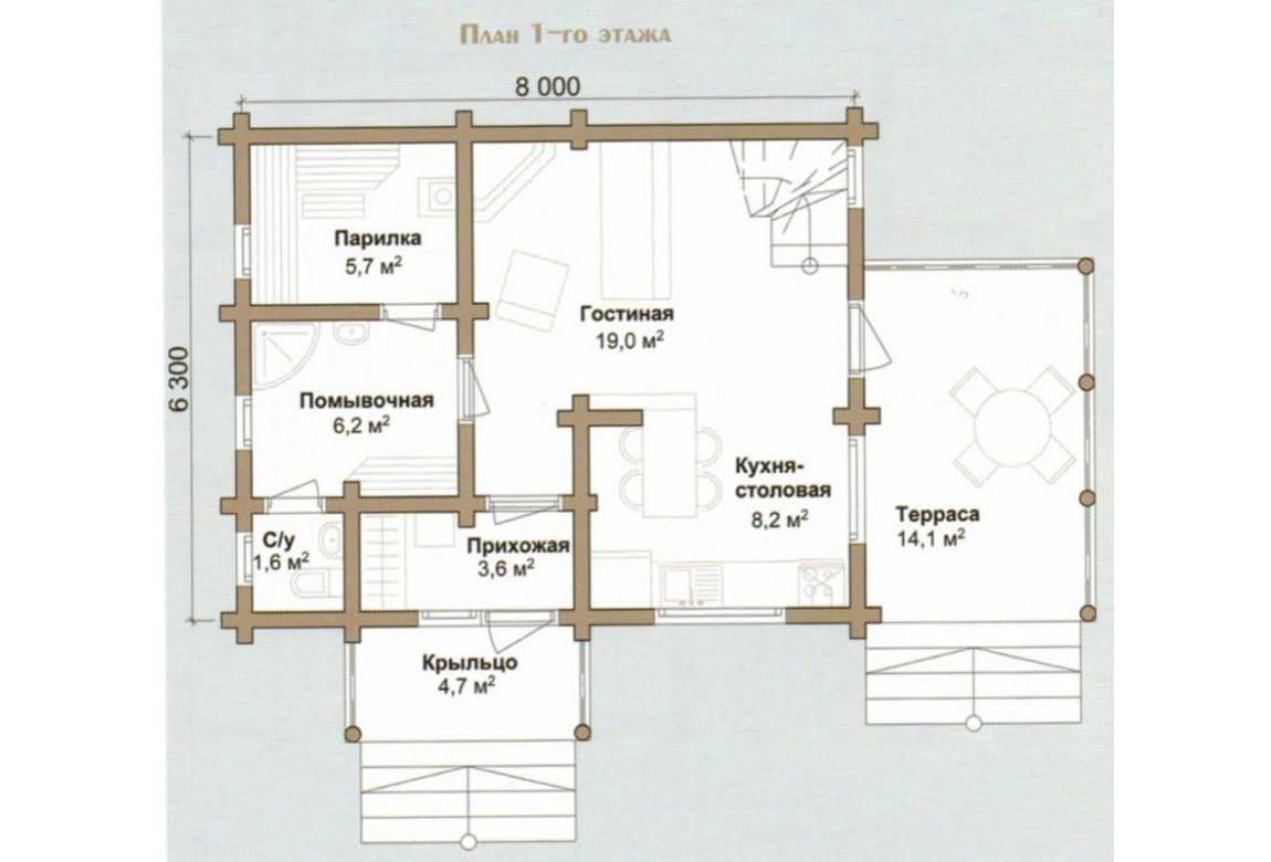 План N1 проекта дома из бревна АСД-Миндальная Роща