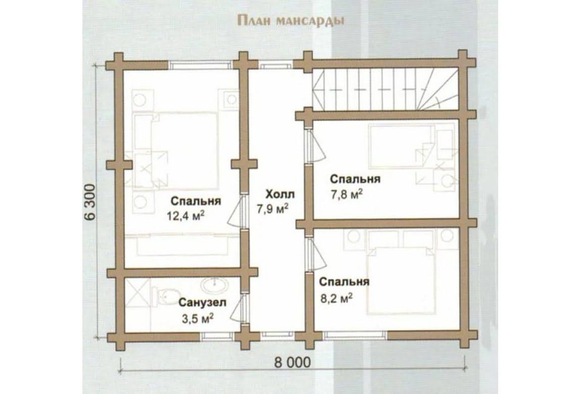 План N2 проекта дома из бревна АСД-Миндальная Роща
