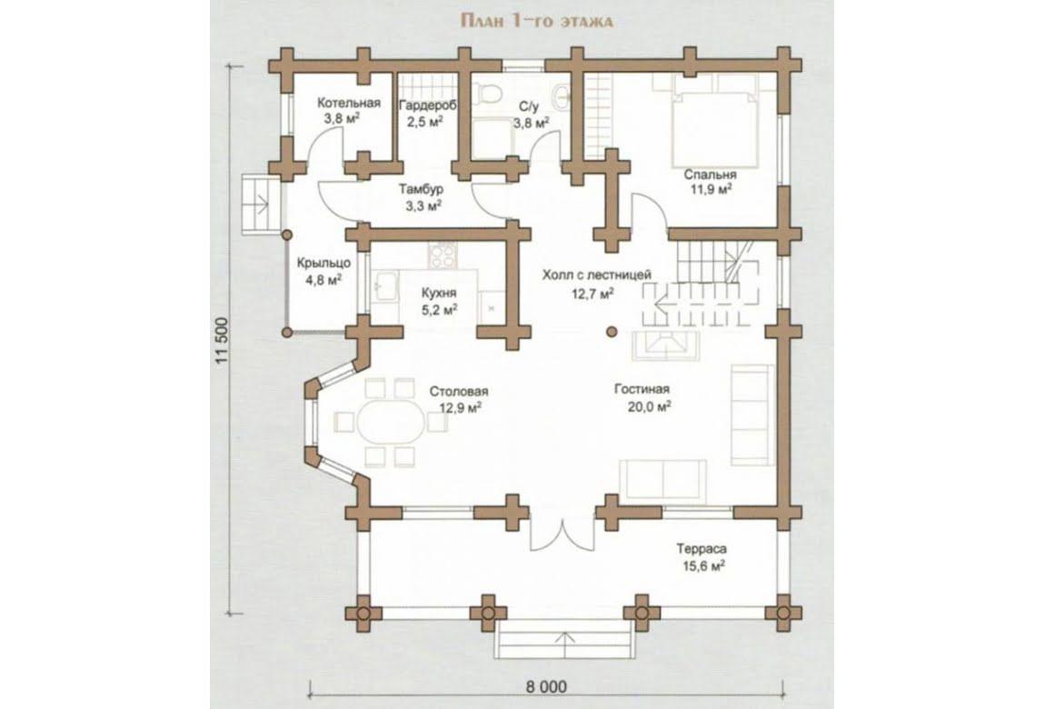 План N1 проекта дома из бревна АСД-Чайка