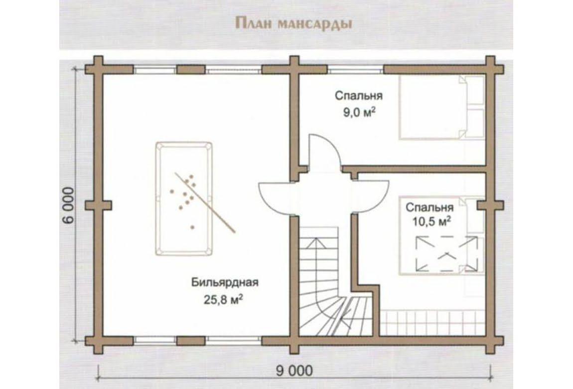 План N2 проекта дома из бревна АСД-Синий Лес