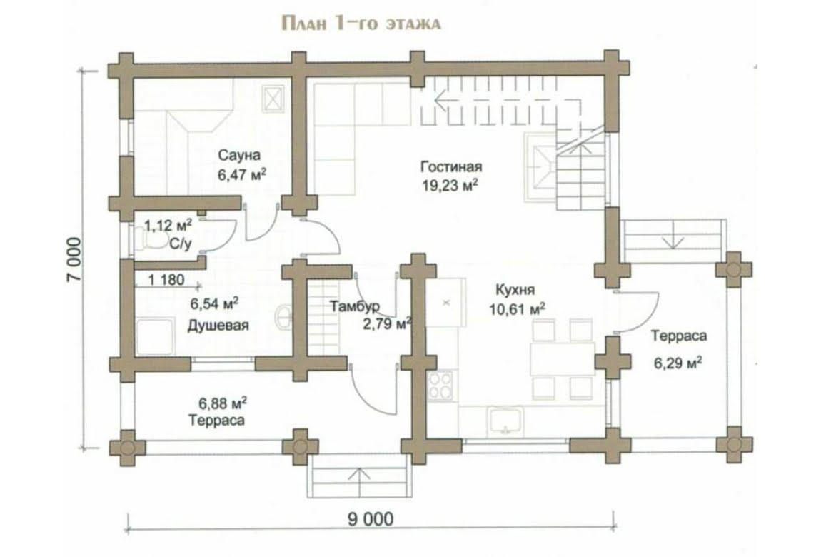 План N1 проекта дома из бревна АСД-Весна