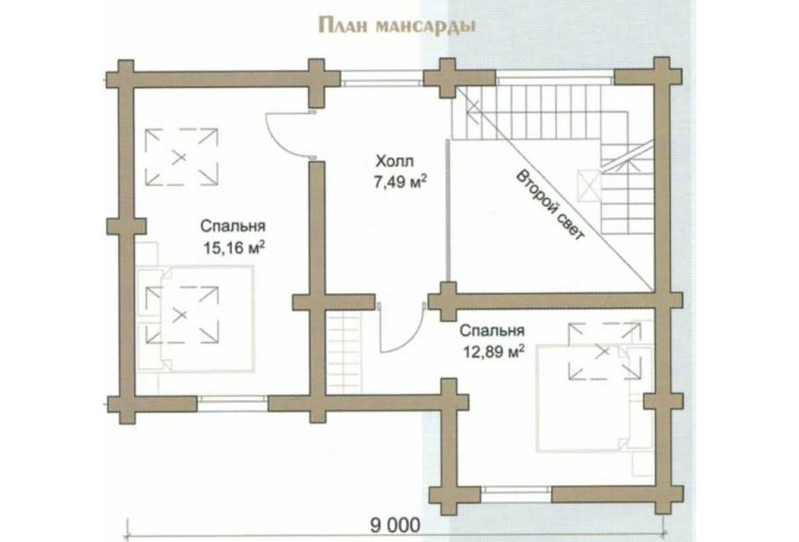 План N2 проекта дома из бревна АСД-Весна