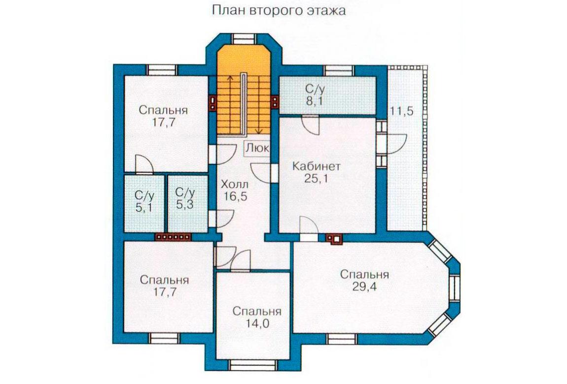 План N1 проекта кирпичного дома АСД-1077