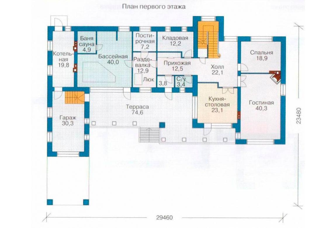 План N2 проекта кирпичного дома АСД-1078