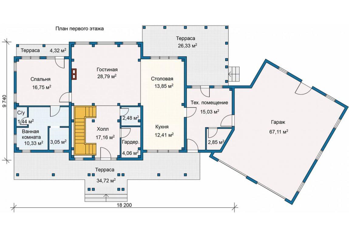 План N1 проекта каркасного дома АСД-Берег Ручья