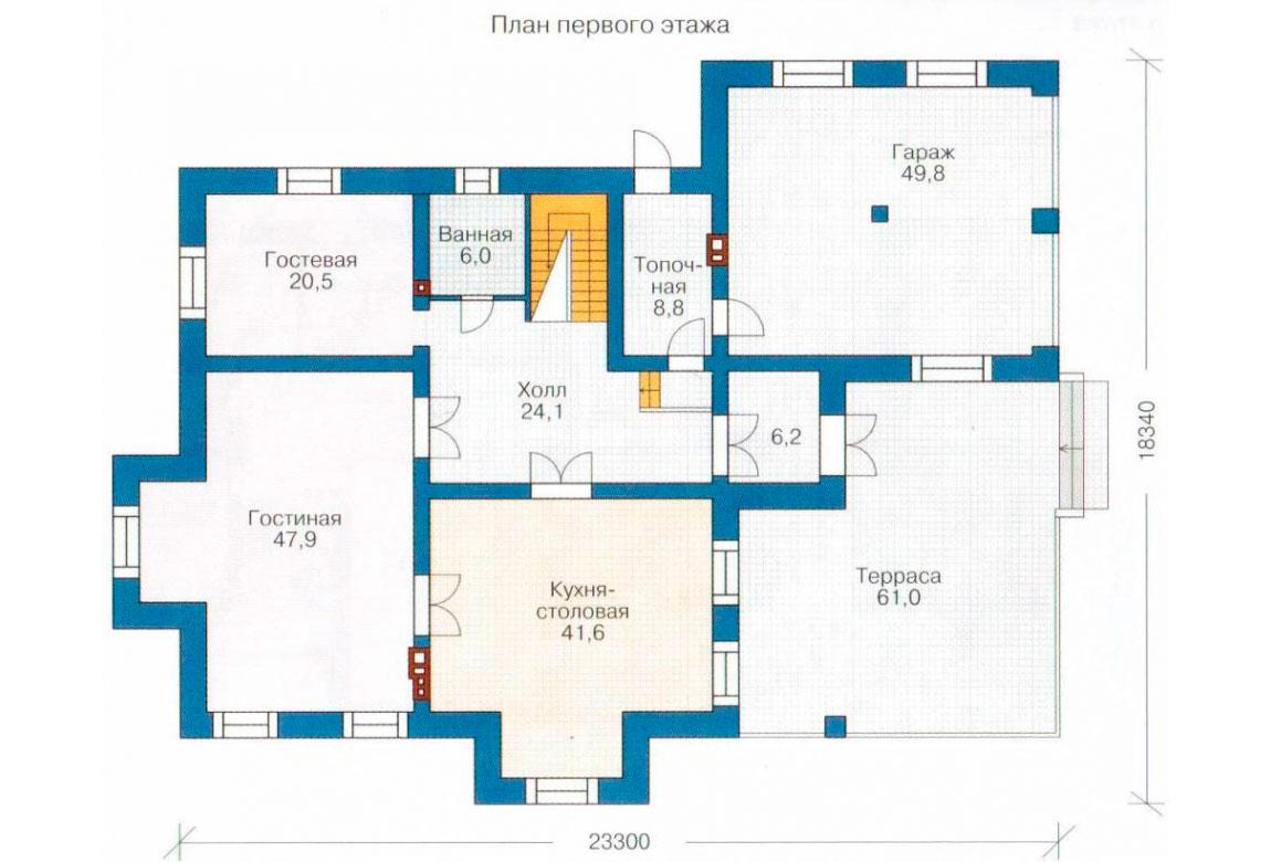 План N1 проекта кирпичного дома АСД-1079