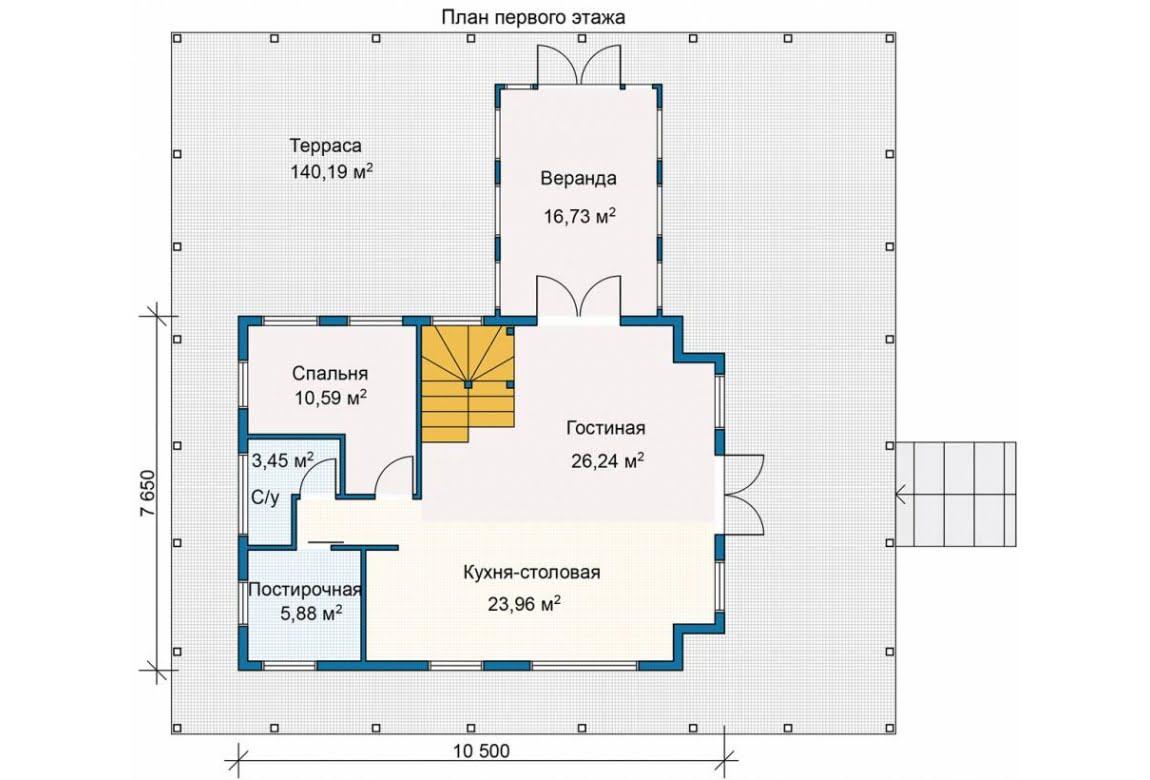 План N1 проекта каркасного дома АСД-Тихая Заводь