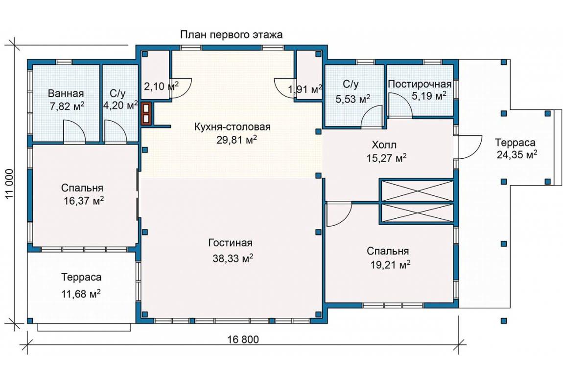 План N1 проекта каркасного дома АСД-Уютный Залив